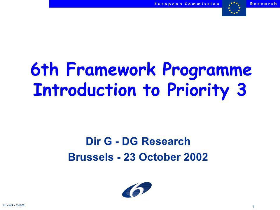 NH - NCP - 23/10/02 1 6th Framework Programme Introduction to Priority 3 Dir G - DG Research Brussels - 23 October 2002
