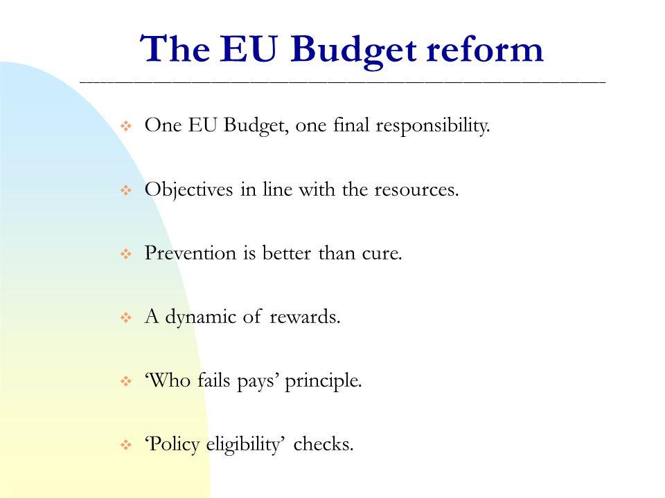 The EU Budget reform _________________________________________________________________________________ One EU Budget, one final responsibility.