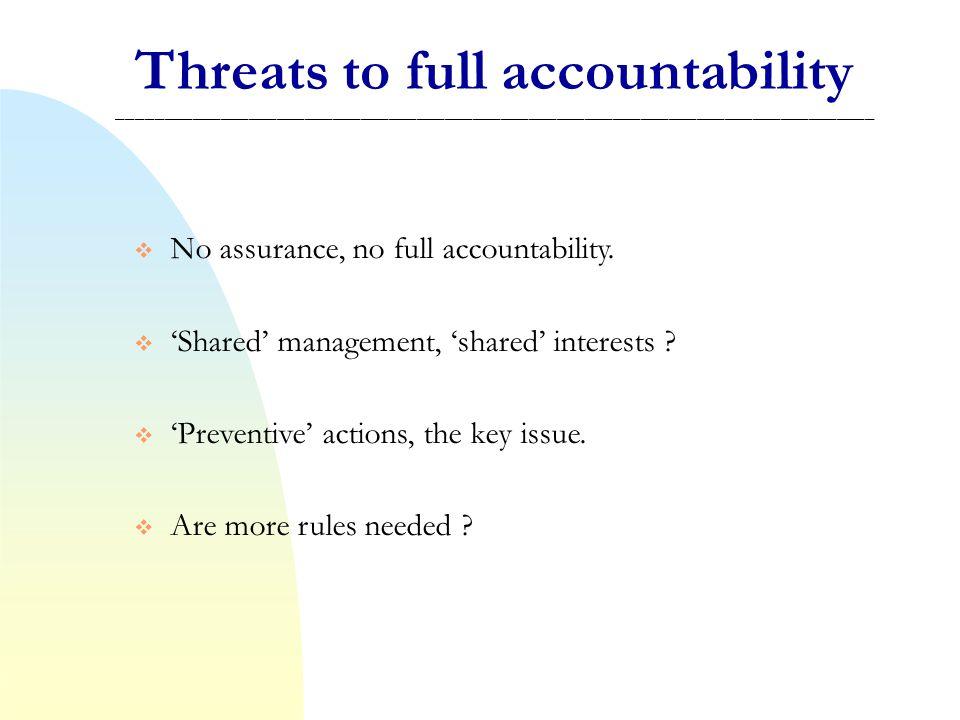 Threats to full accountability _________________________________________________________________________________ No assurance, no full accountability.