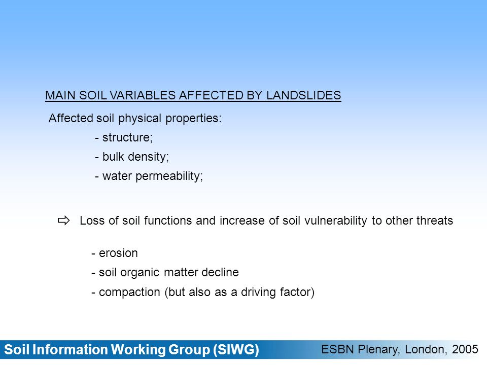 Soil Information Working Group (SIWG) ESBN Plenary, London, 2005 Tier I Source: EPSON (European Spatial Planning Observation Network) project http://www.gtk.fi/projects/ espon/Landslides.htm