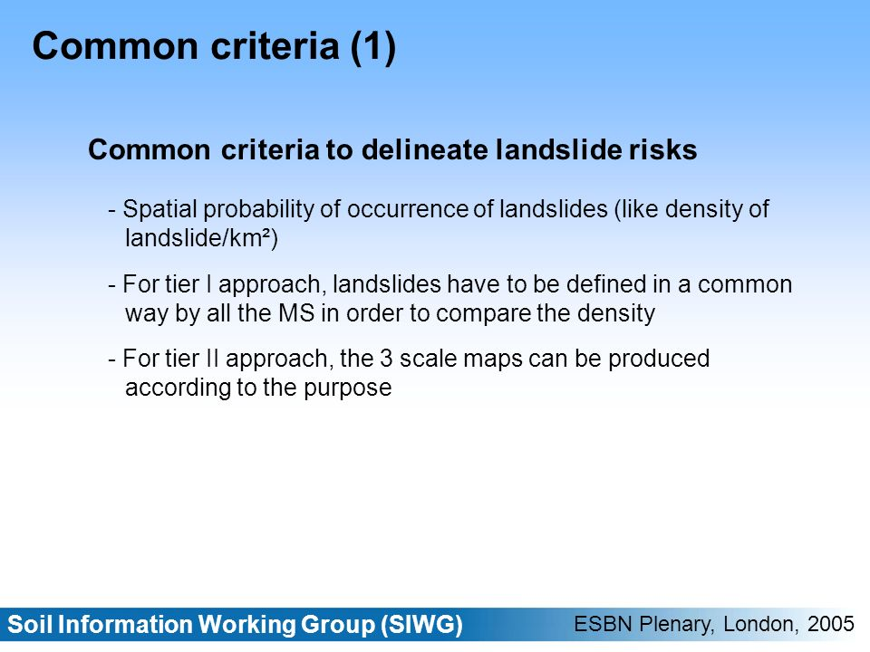 Soil Information Working Group (SIWG) ESBN Plenary, London, 2005 Common criteria (1) Common criteria to delineate landslide risks - Spatial probability of occurrence of landslides (like density of landslide/km²) - For tier I approach, landslides have to be defined in a common way by all the MS in order to compare the density - For tier II approach, the 3 scale maps can be produced according to the purpose