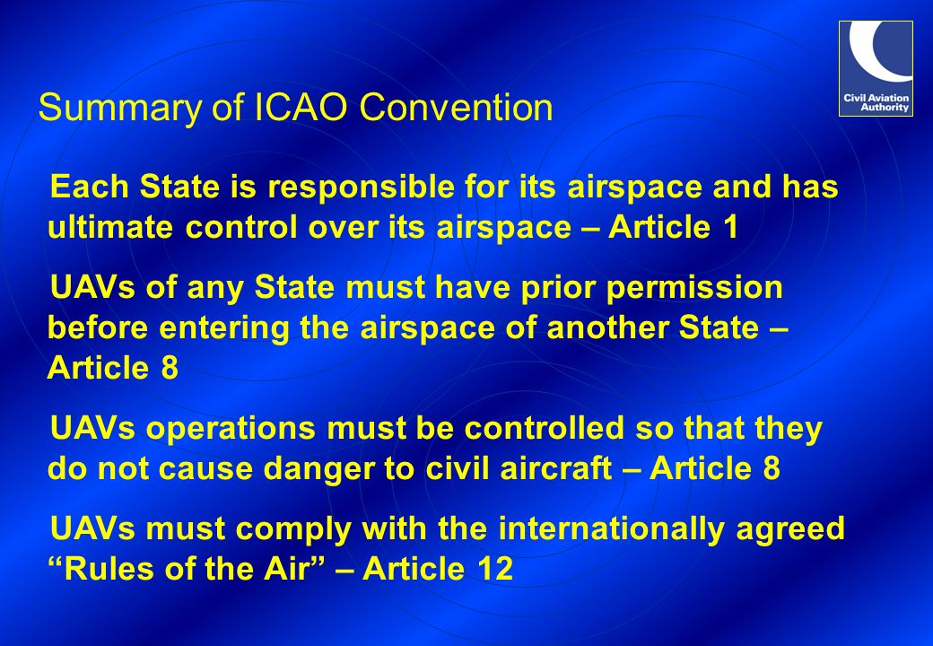 Summary of ICAO Convention Each State is responsible for its airspace and has ultimate control over its airspace – Article 1 UAVs of any State must have prior permission before entering the airspace of another State – Article 8 UAVs operations must be controlled so that they do not cause danger to civil aircraft – Article 8 UAVs must comply with the internationally agreed Rules of the Air – Article 12