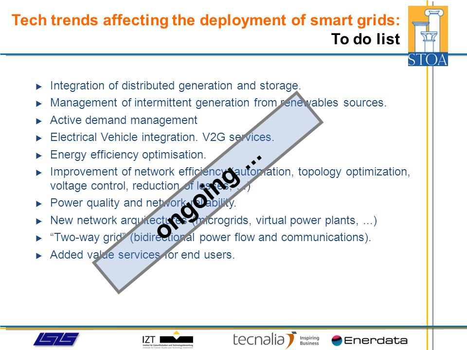 Integration of distributed generation and storage. Management of intermittent generation from renewables sources. Active demand management Electrical