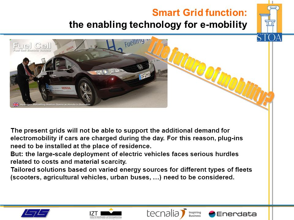 Smart Grid function: the enabling technology for e-mobility The present grids will not be able to support the additional demand for electromobility if