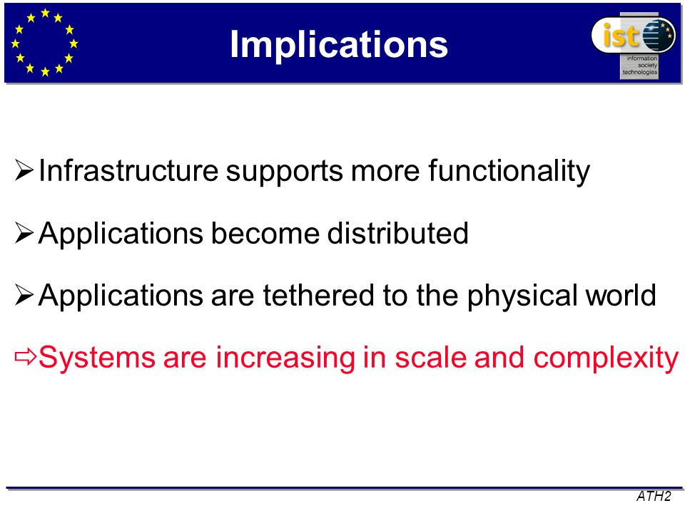 Implications Infrastructure supports more functionality Applications become distributed Applications are tethered to the physical world Systems are in