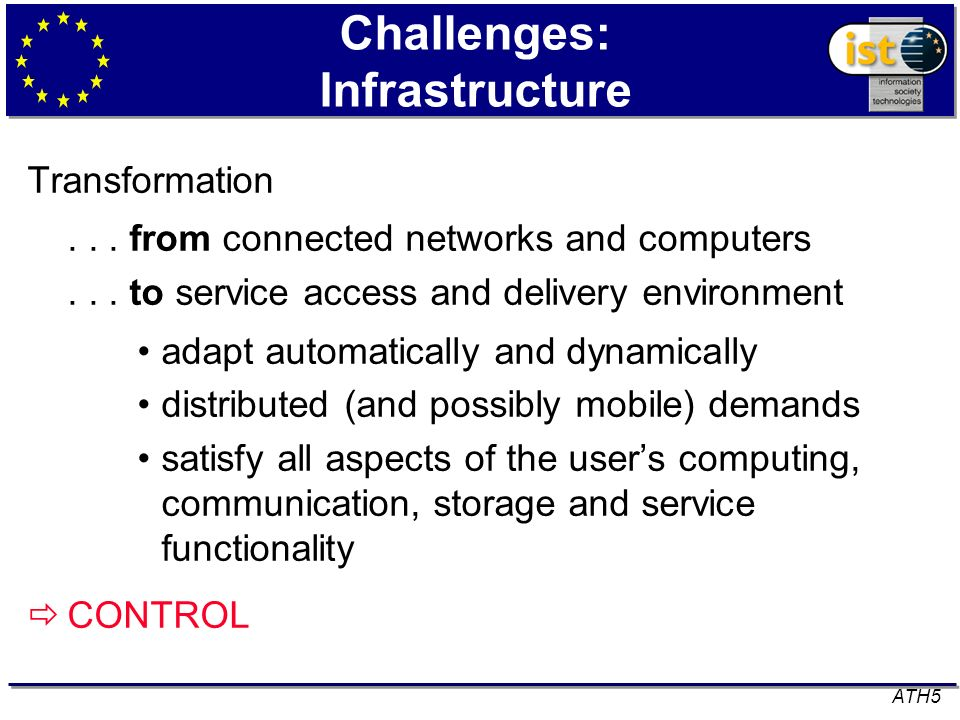 Challenges: Infrastructure Transformation... from connected networks and computers... to service access and delivery environment adapt automatically a
