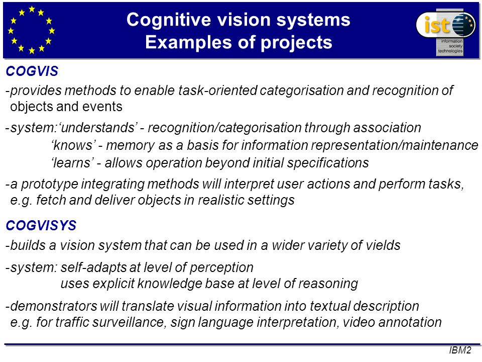 Cognitive vision systems Examples of projects COGVIS -provides methods to enable task-oriented categorisation and recognition of objects and events -s