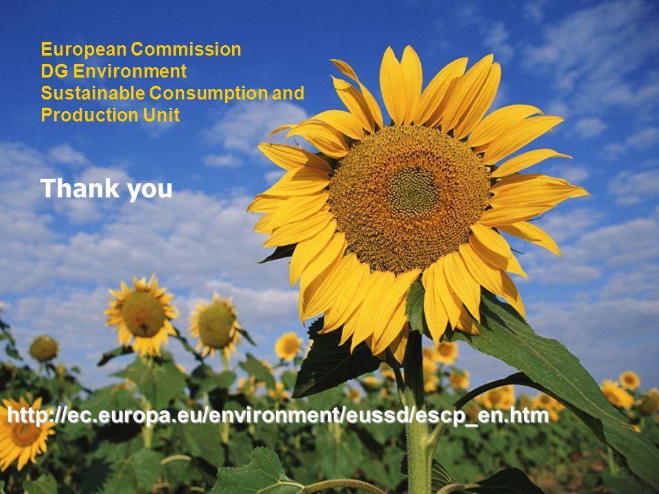 Thank you European Commission DG Environment Sustainable Consumption and Production Unit http://ec.europa.eu/environment/eussd/escp_en.htm