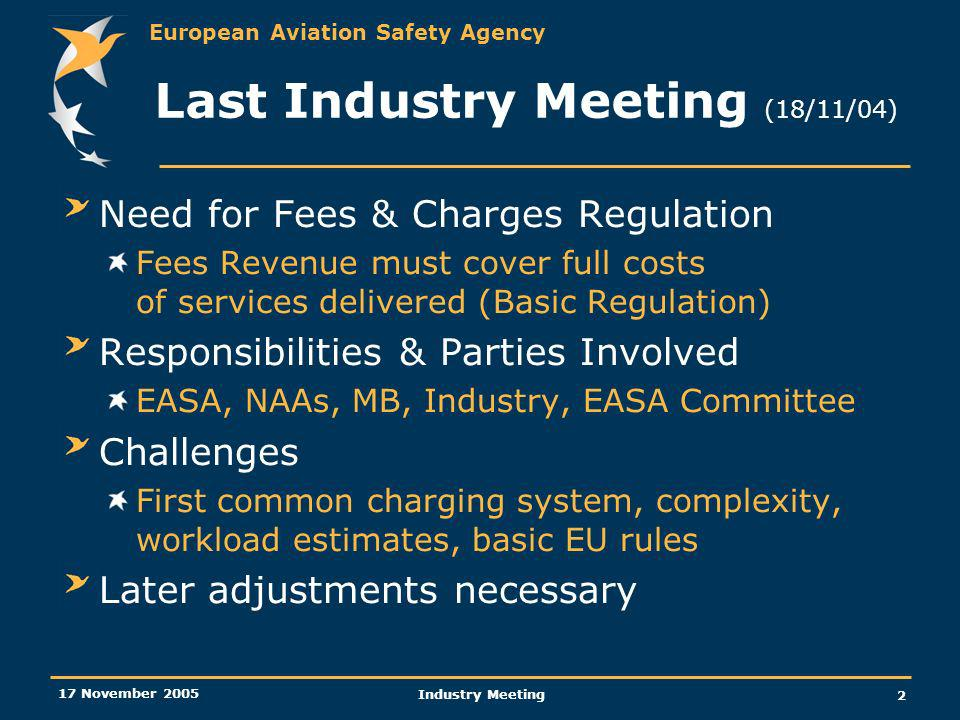 European Aviation Safety Agency 17 November 2005 Industry Meeting 2 Last Industry Meeting (18/11/04) Need for Fees & Charges Regulation Fees Revenue must cover full costs of services delivered (Basic Regulation) Responsibilities & Parties Involved EASA, NAAs, MB, Industry, EASA Committee Challenges First common charging system, complexity, workload estimates, basic EU rules Later adjustments necessary
