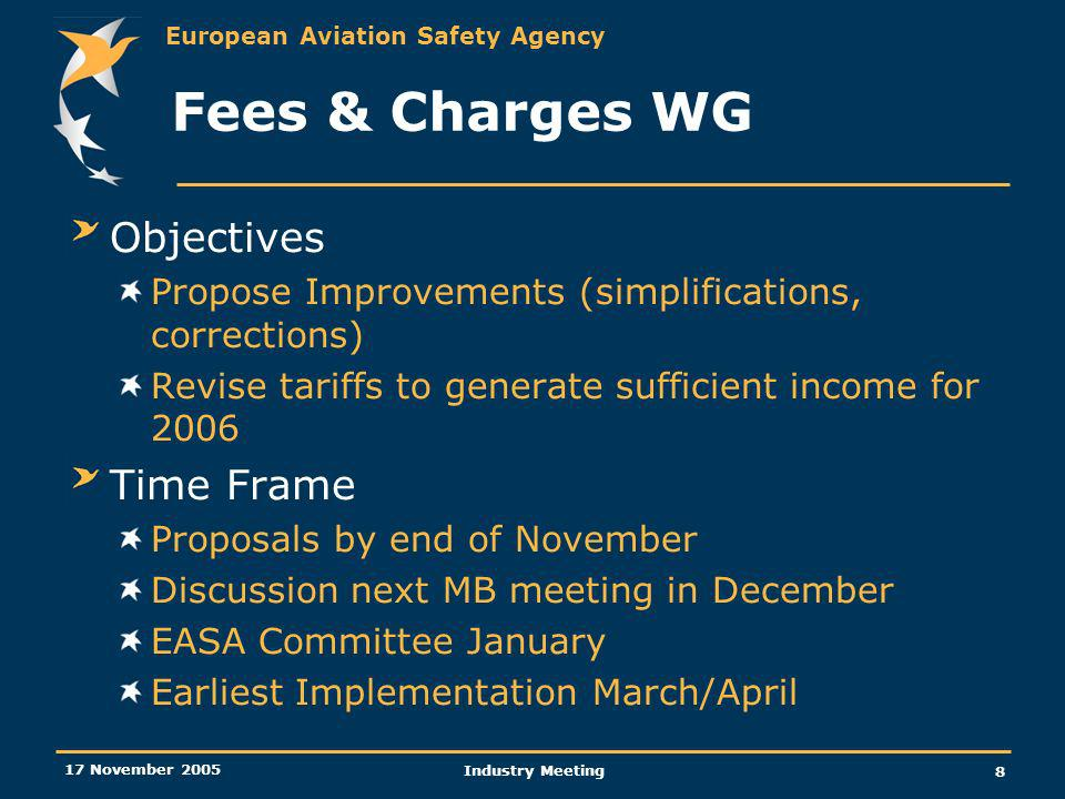 European Aviation Safety Agency 17 November 2005 Industry Meeting 8 Fees & Charges WG Objectives Propose Improvements (simplifications, corrections) Revise tariffs to generate sufficient income for 2006 Time Frame Proposals by end of November Discussion next MB meeting in December EASA Committee January Earliest Implementation March/April
