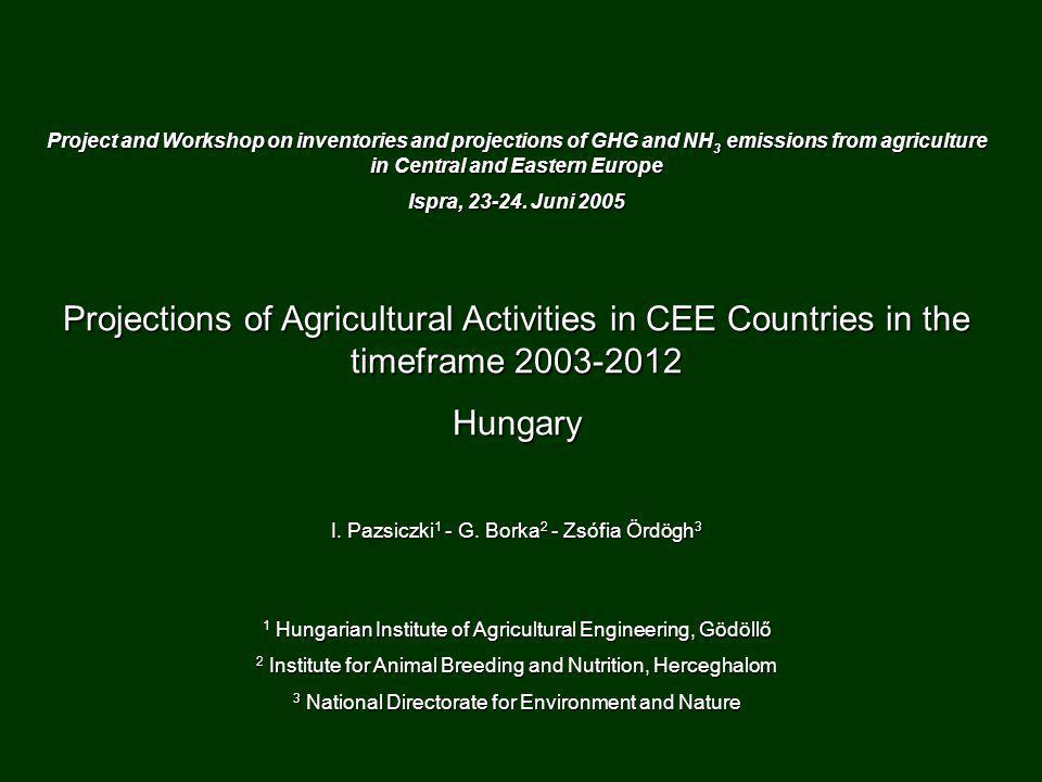 Project and Workshop on inventories and projections of GHG and NH 3 emissions from agriculture in Central and Eastern Europe Ispra, 23-24.