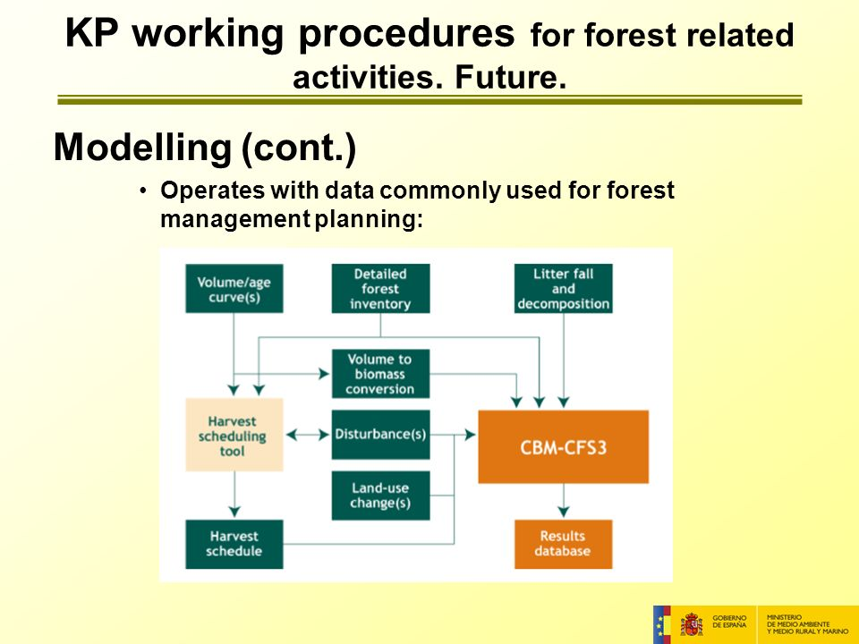 Modelling (cont.) Operates with data commonly used for forest management planning: KP working procedures for forest related activities.
