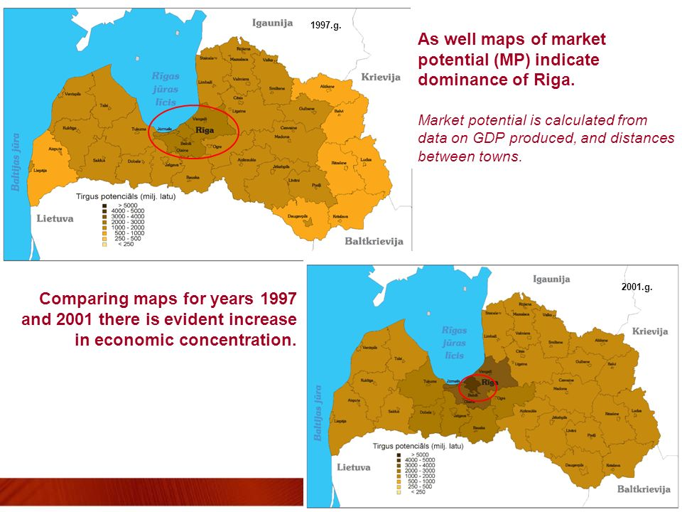 As well maps of market potential (MP) indicate dominance of Riga. Market potential is calculated from data on GDP produced, and distances between town