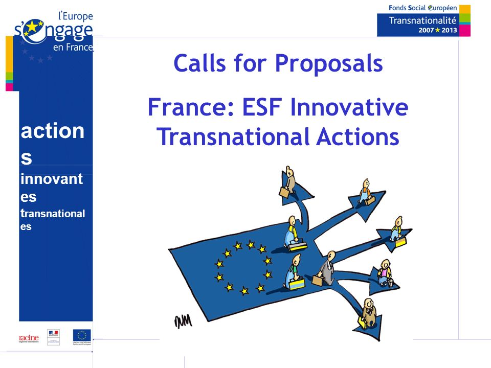 action s innovant es t ransnational es Success Factors Providing models (transnational agreement…) Providing written information (FAQ, guides, Powerpoints…) Carefully targeting & planning communication strategy Keeping records of interested organisations Regular updates on website Seminars for candidates Contacts with Member States
