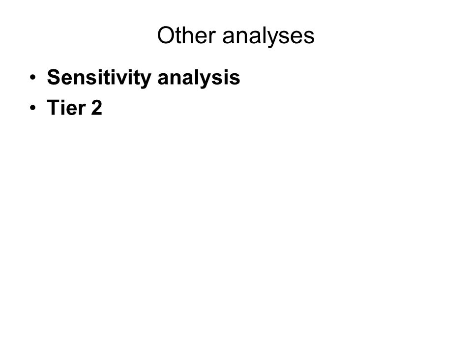 Other analyses Sensitivity analysis Tier 2