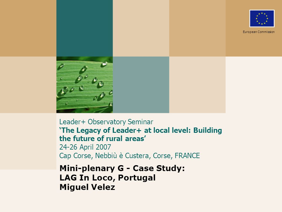 Leader+ Observatory Seminar The Legacy of Leader+ at local level: Building the future of rural areas 24-26 April 2007 Cap Corse, Nebbiù è Custera, Corse, FRANCE Mini-plenary G - Case Study: LAG In Loco, Portugal Miguel Velez European Commission