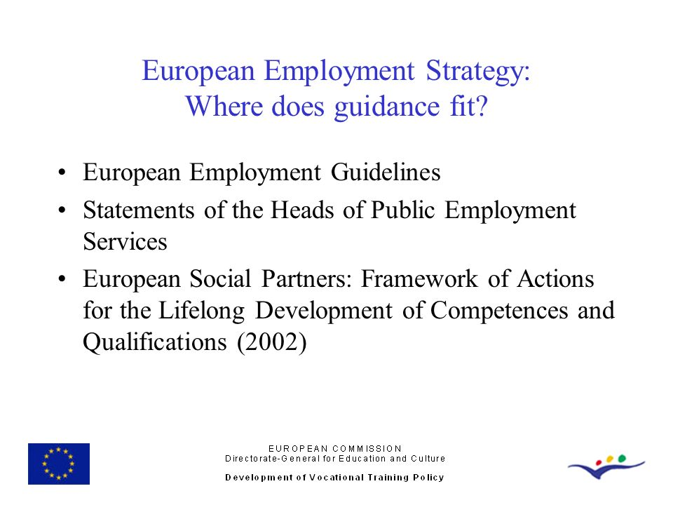 European Employment Strategy: Where does guidance fit? European Employment Guidelines Statements of the Heads of Public Employment Services European S