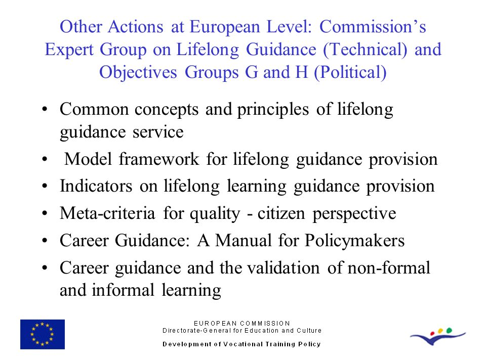 Other Actions at European Level: Commissions Expert Group on Lifelong Guidance (Technical) and Objectives Groups G and H (Political) Common concepts a