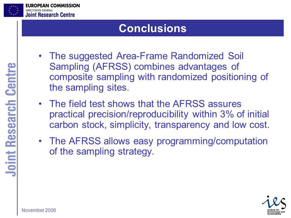12 The suggested Area-Frame Randomized Soil Sampling (AFRSS) combines advantages of composite sampling with randomized positioning of the sampling sit