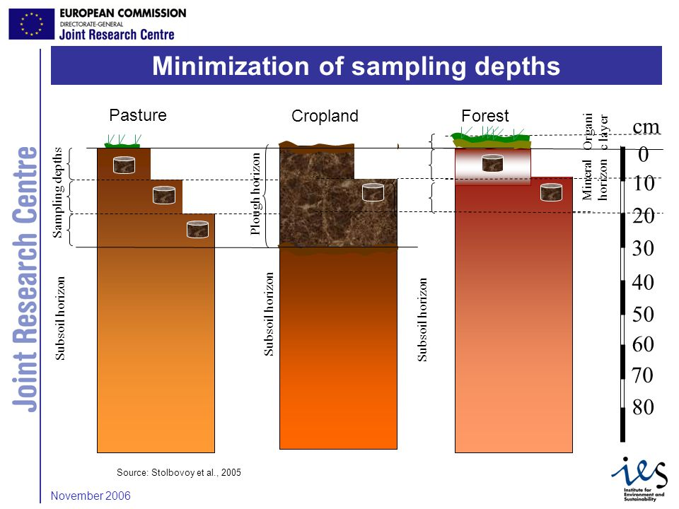 7 Sampling depths Subsoil horizon Pasture Plough horizon Subsoil horizon cm Subsoil horizon CroplandForest Mineral horizon Organi c layer Source: Stolbovoy et al., 2005 Minimization of sampling depths November 2006