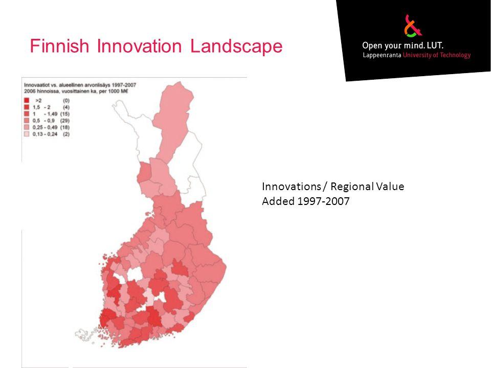Finnish Innovation Landscape Innovations / Regional Value Added 1997-2007