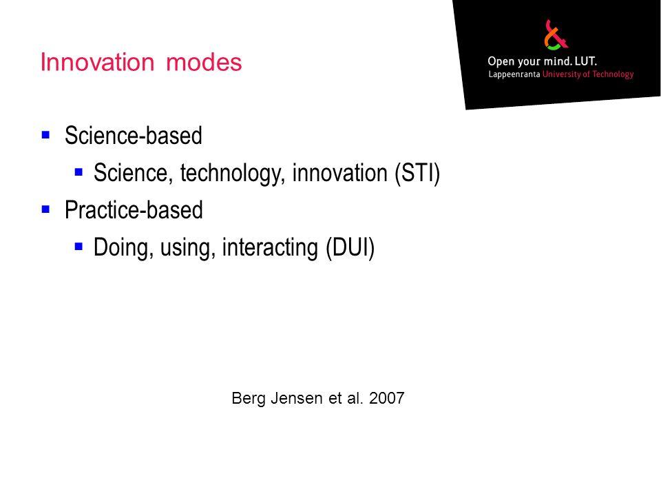 Innovation modes Science-based Science, technology, innovation (STI) Practice-based Doing, using, interacting (DUI) Berg Jensen et al. 2007
