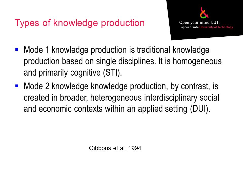 Types of knowledge production Mode 1 knowledge production is traditional knowledge production based on single disciplines.
