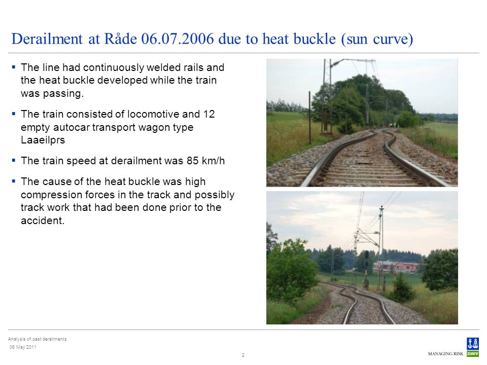 Analysis of past derailments 06 May 2011 2 Derailment at Råde 06.07.2006 due to heat buckle (sun curve) The line had continuously welded rails and the heat buckle developed while the train was passing.