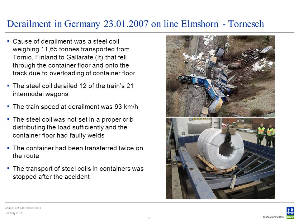 Analysis of past derailments 06 May 2011 3 Derailment in Germany 23.01.2007 on line Elmshorn - Tornesch Cause of derailment was a steel coil weighing 11,65 tonnes transported from Tornio, Finland to Gallarate (It) that fell through the container floor and onto the track due to overloading of container floor.