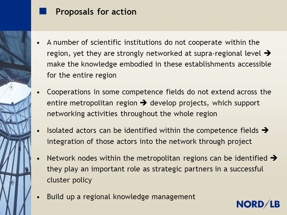 Metropolregion H-BS-GÖ Proposals for action A number of scientific institutions do not cooperate within the region, yet they are strongly networked at supra-regional level make the knowledge embodied in these establishments accessible for the entire region Cooperations in some competence fields do not extend across the entire metropolitan region develop projects, which support networking activities throughout the whole region Isolated actors can be identified within the competence fields integration of those actors into the network through project Network nodes within the metropolitan regions can be identified they play an important role as strategic partners in a successful cluster policy Build up a regional knowledge management