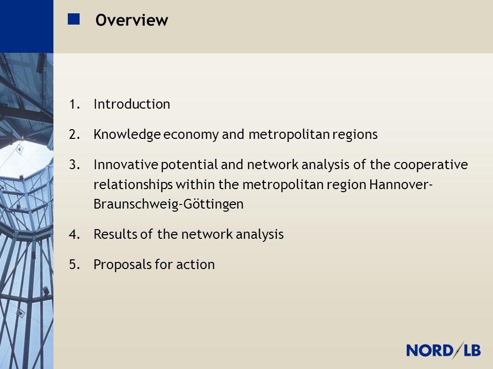 Metropolregion H-BS-GÖ Overview 1.Introduction 2.Knowledge economy and metropolitan regions 3.Innovative potential and network analysis of the cooperative relationships within the metropolitan region Hannover- Braunschweig-Göttingen 4.Results of the network analysis 5.Proposals for action