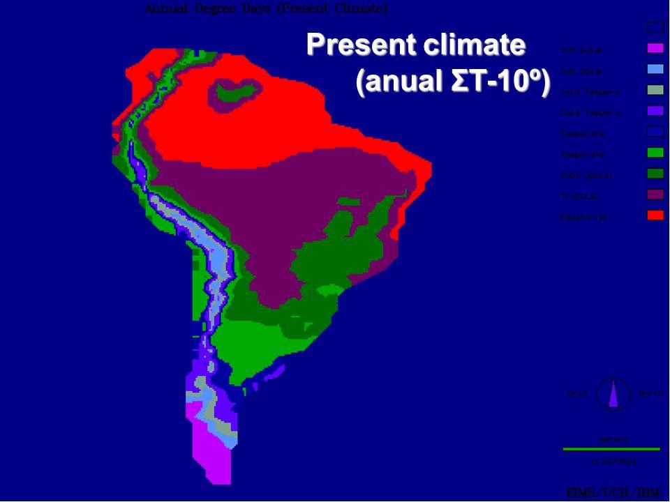 Present climate (anual ΣT-10º) (anual ΣT-10º)