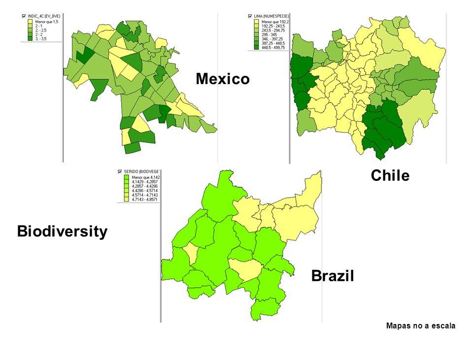 Biodiversity Mapas no a escala Mexico Brazil Chile
