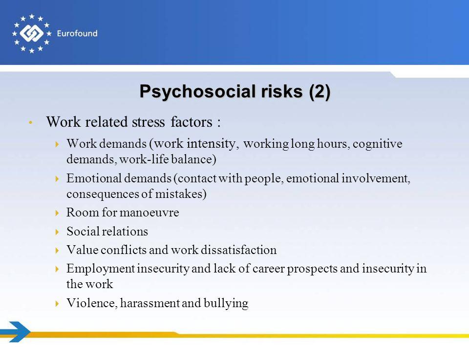 Psychosocial risks (2) Work related stress factors : Work demands (work intensity, w orking long hours, cognitive demands, work-life balance) Emotiona