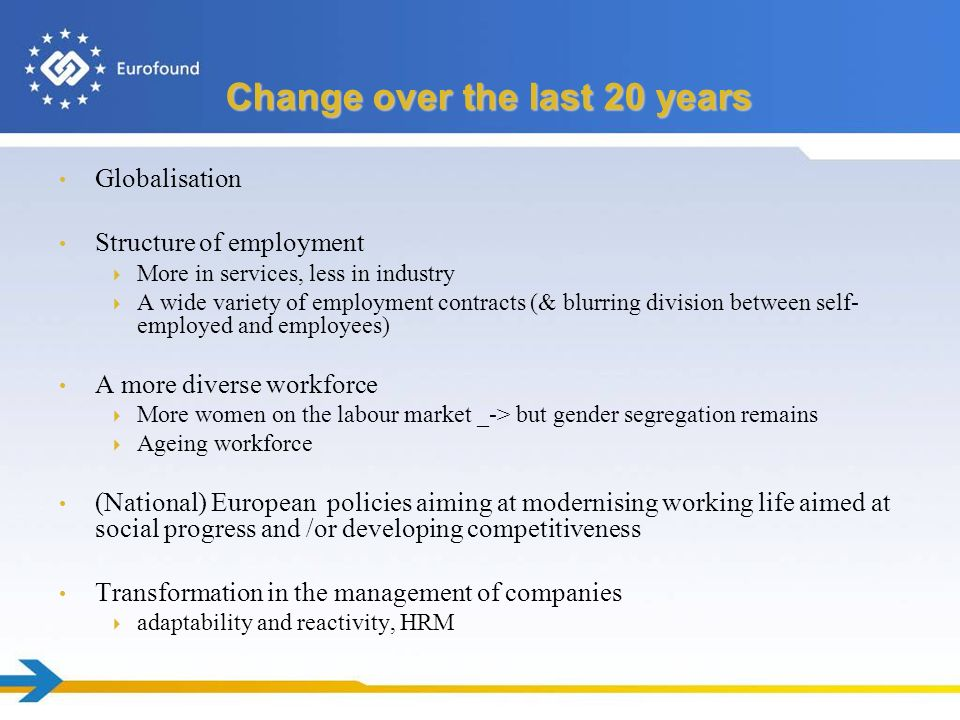 Change over the last 20 years Globalisation Structure of employment More in services, less in industry A wide variety of employment contracts (& blurring division between self- employed and employees) A more diverse workforce More women on the labour market _-> but gender segregation remains Ageing workforce (National) European policies aiming at modernising working life aimed at social progress and /or developing competitiveness Transformation in the management of companies adaptability and reactivity, HRM
