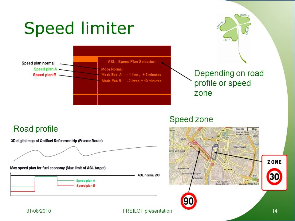 Speed limiter 14 Depending on road profile or speed zone Road profile Speed zone FREILOT presentation31/08/2010