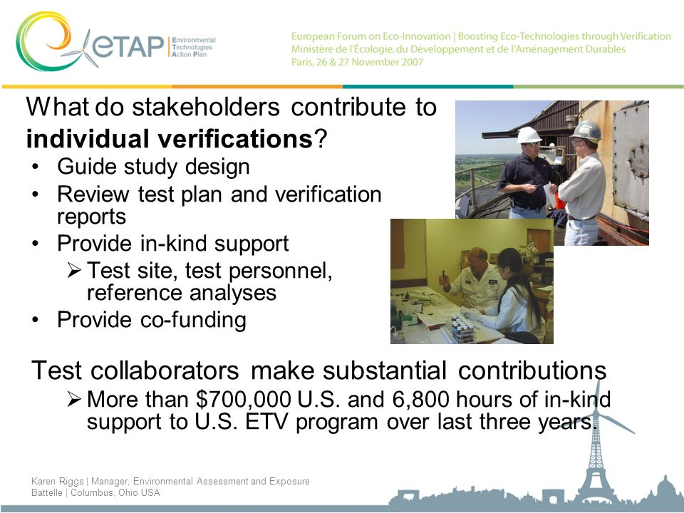What do stakeholders contribute to individual verifications.