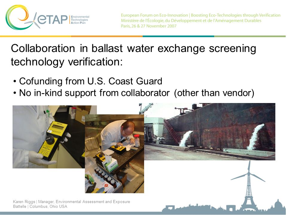Collaboration in ballast water exchange screening technology verification: Cofunding from U.S.