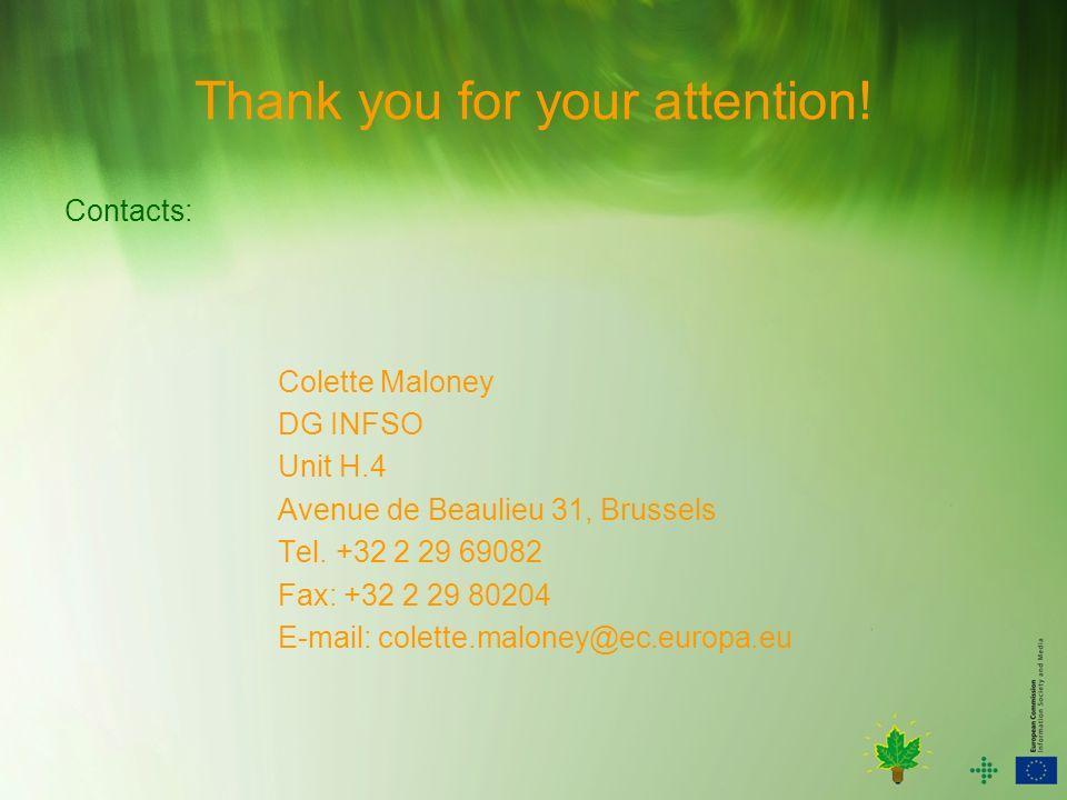 Thank you for your attention! Contacts: Colette Maloney DG INFSO Unit H.4 Avenue de Beaulieu 31, Brussels Tel. +32 2 29 69082 Fax: +32 2 29 80204 E-ma