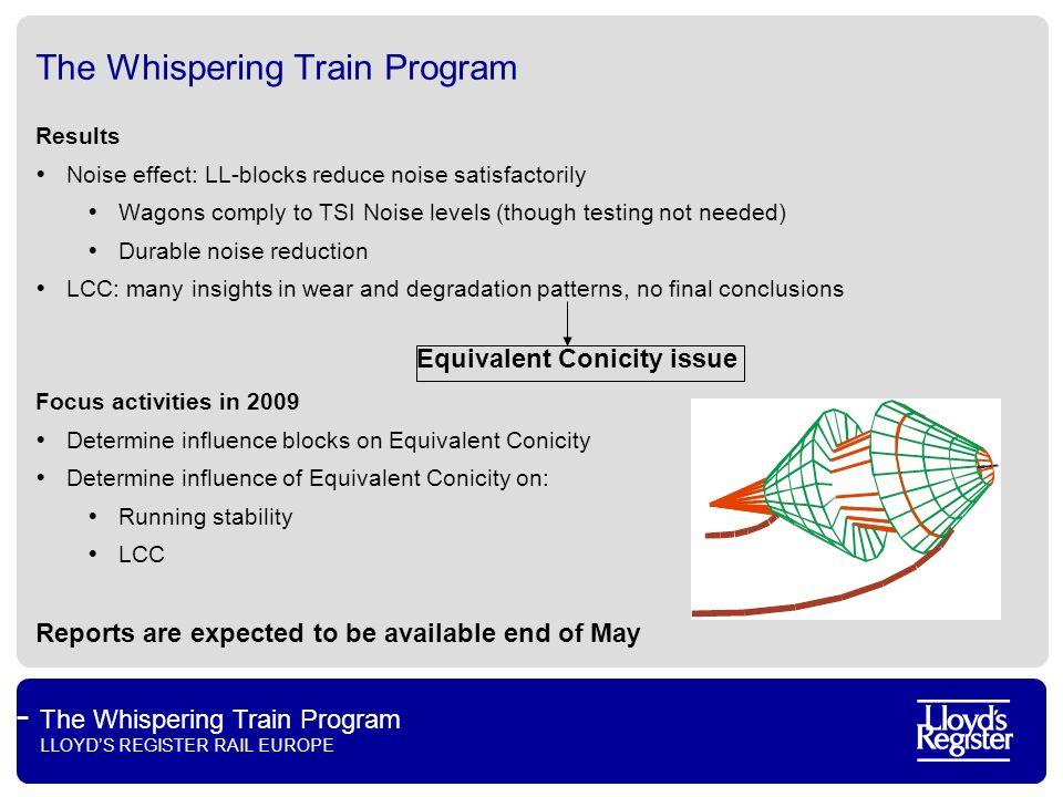 The Whispering Train Program LLOYDS REGISTER RAIL EUROPE The Whispering Train Program Results Noise effect: LL-blocks reduce noise satisfactorily Wago