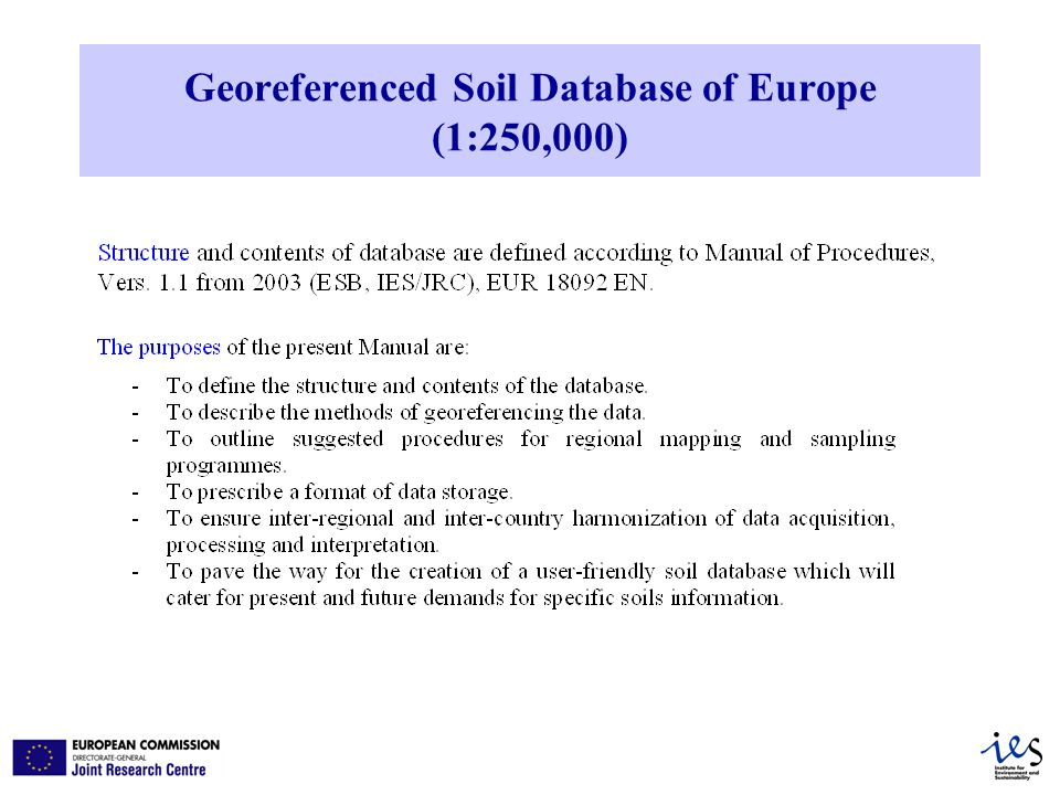 Georeferenced Soil Database of Europe (1:250,000)