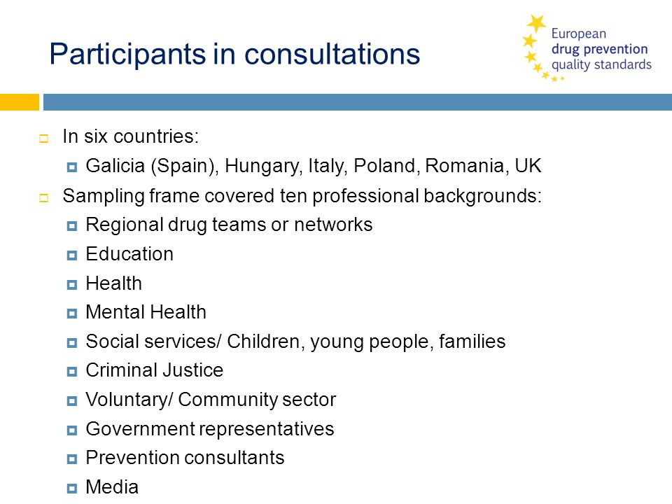 Participants in consultations In six countries: Galicia (Spain), Hungary, Italy, Poland, Romania, UK Sampling frame covered ten professional backgroun