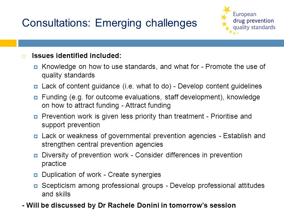 Consultations: Emerging challenges Issues identified included: Knowledge on how to use standards, and what for - Promote the use of quality standards