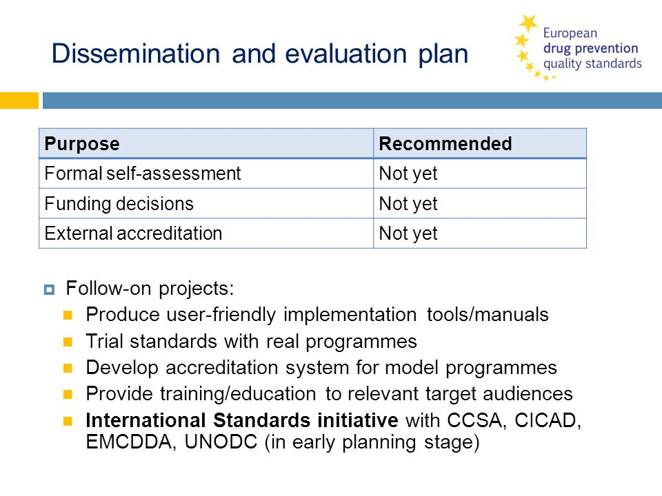 Dissemination and evaluation plan PurposeRecommended Formal self-assessmentNot yet Funding decisionsNot yet External accreditationNot yet Follow-on pr
