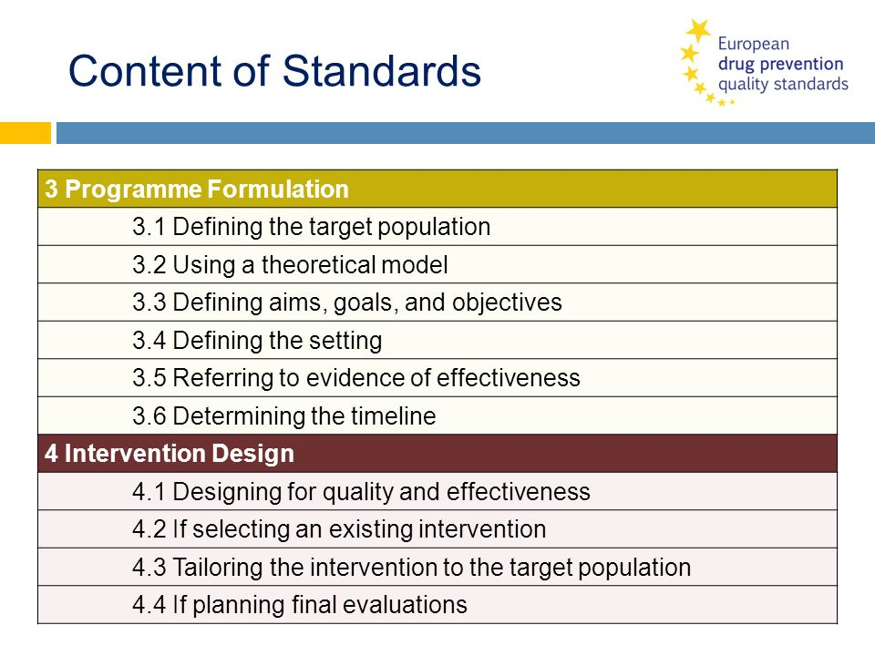 Content of Standards 3 Programme Formulation 3.1 Defining the target population 3.2 Using a theoretical model 3.3 Defining aims, goals, and objectives