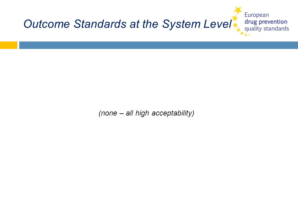 Outcome Standards at the System Level (none – all high acceptability)