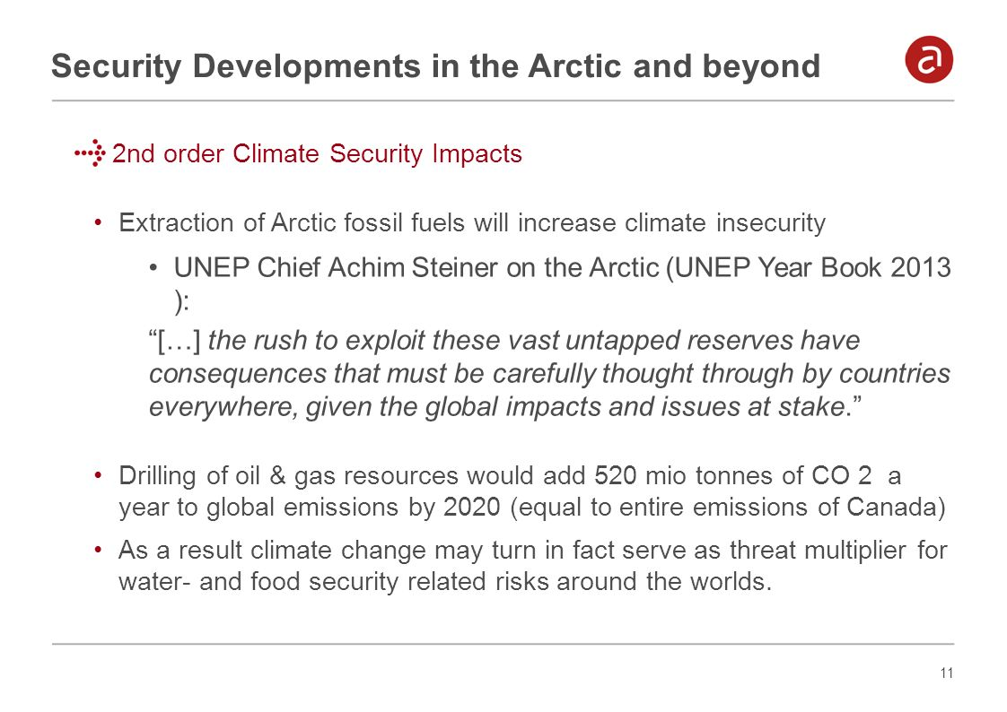 11 Security Developments in the Arctic and beyond 2nd order Climate Security Impacts Extraction of Arctic fossil fuels will increase climate insecurit