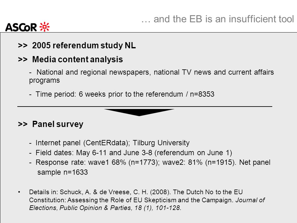 >> 2005 referendum study NL >> Media content analysis - National and regional newspapers, national TV news and current affairs programs - Time period: