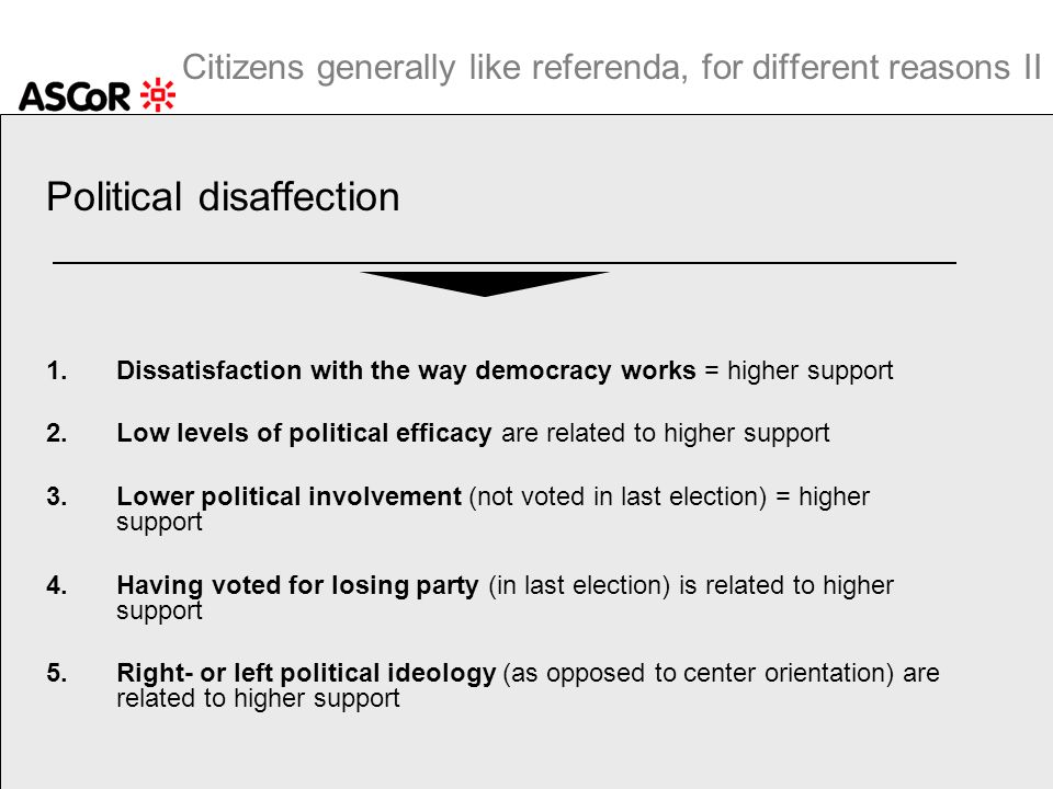 Citizens generally like referenda, for different reasons II Political disaffection 1.Dissatisfaction with the way democracy works = higher support 2.L