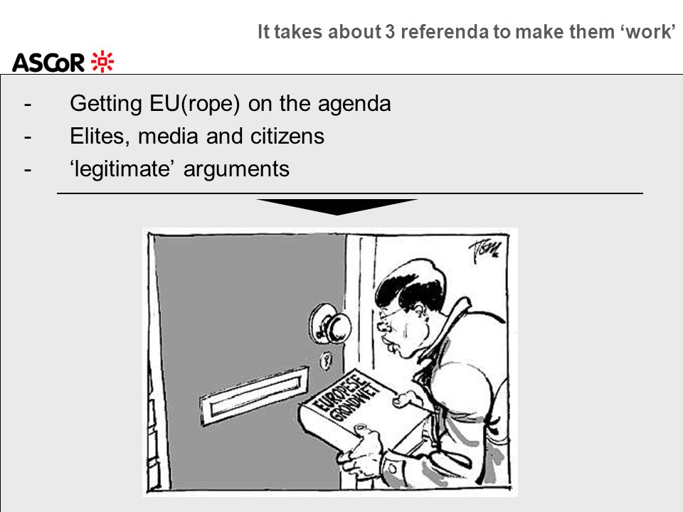 -Getting EU(rope) on the agenda -Elites, media and citizens -legitimate arguments It takes about 3 referenda to make them work